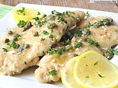 Low Fat Chicken Piccata [Gluten Free]    Nutrition Info    Servings: 10* Calories: 167* Fat: 4g* Cholesterol: 57mg*Sodium: 125mg*  Fiber: 1g* Carbs: 8g* Sugars: 0g* Protein: 24g* Points+: 4*