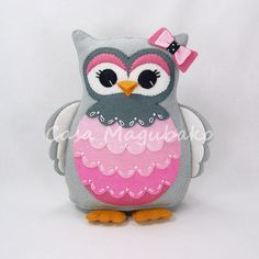 Felt Owl Pincushion - Stuffed Animal - Owl Soft Toy - Felt Owl Plush - Wool/Rayon Felt