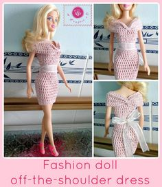 crochet fashion doll off the shoulder dress