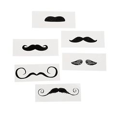 Moustache Tattoo Assortment 12ct