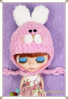 lovely pink & white rabbit Hat for Blythe  Helmet for Blythe