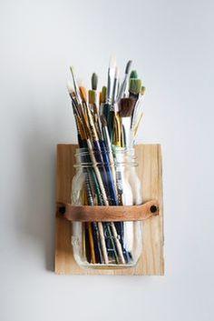 DIY: Leather Mason Jar Holder for paintbrushes...or makeup brushes??