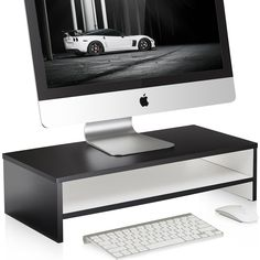 FITUEYES 21.3inch White 2 Tire Monitor Laptop Stand Computer monitor riser with keyboard Storage Space,DT205401WW. Accommodates monitors, laptops, printers, and fax machines. [Approx. Dimension: 16.7*9.3*5.5in. Assembly needed. ]. Stow laptop underneath monitor riser for space-saving storage. The laptop stand is also a great desk accessory to enhance the visual organization of your desk; simple and slim design fits perfectly into any decor, adds an elegant look to your desktop or work…