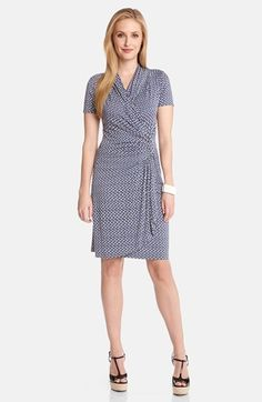 Karen Kane 'Lisbon Tile' Cascade Wrap Dress #Nordstrom #Karen_Kane #Summer_2014 #Retro #Print  #Fashion