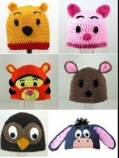 Crochet Thousand Acre Woods Characters (Pooh, Piglet, Tigger, Kanga, Owl & Eeyore) - Picture Idea Crochet Panda, Crochet Kids Hats, Crochet Beanie, Love Crochet, Crochet Gifts, Knitted Hats, Knit Crochet, Loom Knitting, Baby Knitting
