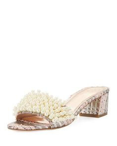 Tory Burch Tatiana Pearly Tweed Slide Sandal, Pink/Metallic NZD 477.60