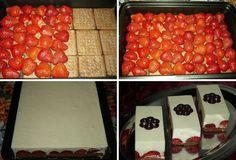 No Bake Strawberry Dessert Recipe Slovak Recipes, Strawberry Dessert Recipes, Baked Strawberries, Creative Food, I Love Food, No Bake Cake, Sweet Recipes, Delicious Desserts, Deco