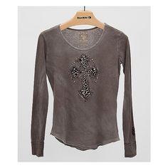Velvet Stone Cheetah Maddona Cross T-Shirt ($65) ❤ liked on Polyvore featuring tops, t-shirts, grey, grey t shirt, gray t shirt, velvet tops, cross t shirt and cheetah print tops