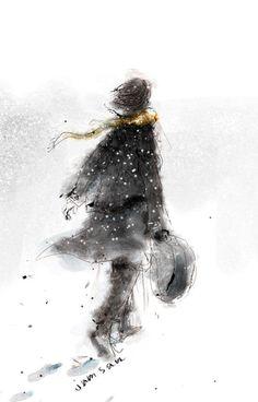Illustration by Korean illustrator Jam San Watercolor Painting Techniques, Watercolor Portraits, Painting & Drawing, Painting People, Drawing People, Watercolor Illustration, Watercolor Paintings, Watercolors, Arte Peculiar