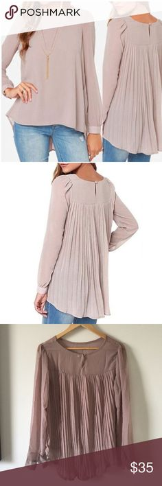 🔹NEW🔹Pleated Chiffon Tunic A chiffon blouse with a button enclosure and cuffs in soft mauve. Tops Blouses