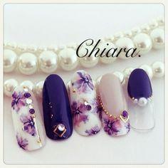 @pelikh_ Chiara. Claw Nails, My Nails, Flower Nail Designs, Nail Art Designs, Japan Nail, Gel Nagel Design, Japanese Nails, Nagel Gel, Purple Nails