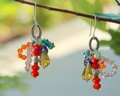 Elegant Cluster Earrings. This selection sparkles with color and can easily be matched to formal and informal outfits.