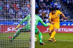 Luis Suarez of FC Barcelona scores his team's fifth goal during the La Liga match between RC Deportivo La Coruna and FC Barcelona at Riazor Stadium...