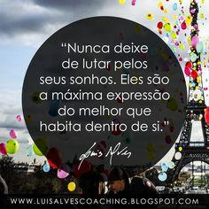 """PENSAMENTO DO DIA  Você continua a lutar pelos seus Sonhos?  QUOTE OF THE DAY: """"Never stop fighting for your dreams. They are the ultimate expression of the best that dwells within you. - LUIS ALVES""""  Conheça o meu canal no YouTube: https://www.youtube.com/c/luisalvescoaching  #PensamentoDoDia #FraseDoDia #Sonhos #Sucesso #Felicidade #EuInterior #LuisAlvesFrases #Coaching #LeiDaAtração"""