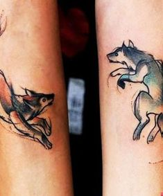 two wolves tattoo sibling tattoos two wolves couple tattoos sibling my . Wolf Tattoos, Animal Tattoos, Body Art Tattoos, New Tattoos, Tattoos For Guys, Tatoos, Cool Couple Tattoos, Couple Tattoo Ideas, Exotic Tattoos