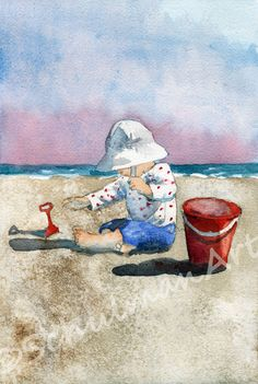 seascape painting children on beach ORIGINAL watercolor, landscape ocean beach decor via Etsy Beach Landscape, Watercolor Landscape, Watercolor Paintings, Landscape Sketch, Watercolours, Seascape Paintings, Landscape Paintings, Beach Play, Illustration