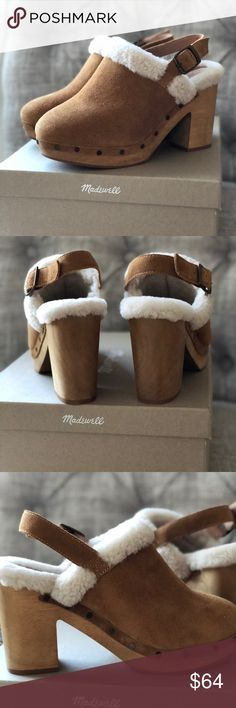 Madewell Sherpa suede clogs AMAZING new in box Madewell wooden clogs with beautiful suede and cozy Sherpa. The perfect winter clog, first very TTS. The back strap is adjustable and creates and comfy secure fit. Madewell Shoes Mules & Clogs