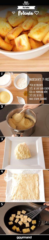 On récapitule : 1. Faire chauffer le lait dans une casserole. 2. Quand le lait est frémissant, incorporer la polenta, le sel et le parmesan. 3. Remuer le temps que la polenta gonfle. 4. Laisser la polenta se dessécher en remuant pour qu'elle se détache des parois et forme une boule. 5. Etaler la polenta sur une assiette. 6. Couvrir et laisser durcir au frais pendant au moins quelques heures. 7. Découper en cubes. 8. Dorer les cubes à la poêle avec de l'huile.