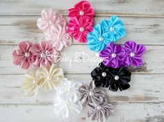 Satin and Pearl Flower Hair Clip  by babyzdesigns, $3.99