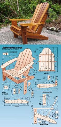 Ted's Woodworking Plans Adirondack Chair Plans More Get A Lifetime Of Project Ideas & Inspiration! Step By Step Woodworking Plans Woodworking Projects Diy, Diy Wood Projects, Outdoor Projects, Furniture Projects, Woodworking Plans, Diy Furniture, Woodworking Furniture, Woodworking Apron, Woodworking Chisels