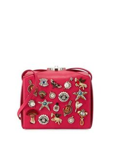 L0PRR Alexander McQueen Embellished Box Clutch Bag, Pink