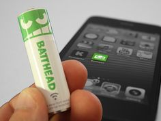 Batthead: A battery in charge    A standard size AA rechargeable battery that can switch itself on and off, and is controllable from your smartphone or tablet.