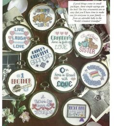 Cross Stitch Pattern pages from a book Family Hugs Ornaments Magnets Jar lids