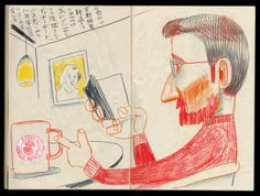 Studio-Takeuma, via Behance/ Drawing task: snap some secret candid shots (get okay afterwards) for colour pencil drawings