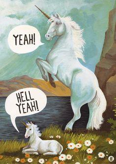 'Yeah! Hell Yeah!' Unicorns. A3 Size Print. © James Wilson.