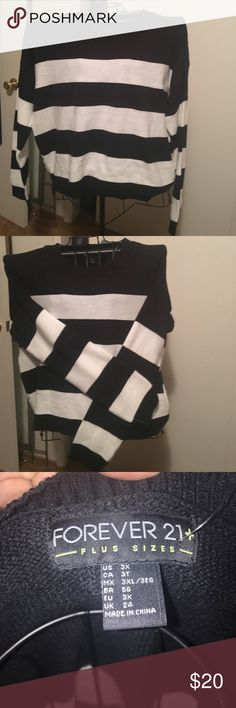 NWT plus size sweater Black and ivory striped Forever21 sweater Forever 21 Sweaters