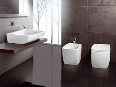 Arredo bagno completo in ceramica SQUARE Collezione Orizzonti by A. e T. Italia | design Imerio Zaminato
