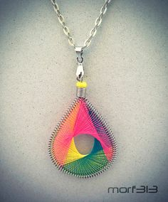 String Art Teardrop Woven Neon Thread Pendant Necklace. Coiled Wire, Silver. Colorful Multi-color. Macrame Pattern. Peruvian Embroidery