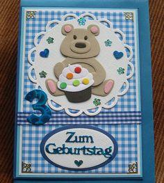 Glückwunschkarten - Karte zum 3 Geburtstag mit Bär - ein Designerstück von…