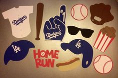 Dodgers Baseball Photo Booth Props:   12 Piece Photo Booth Set Includes:  2…