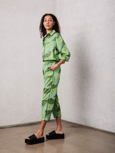 Raquel Allegra Silk Cotton Sateen New Sunday Pant - Green Waves | Garmentory Recycled T Shirts, Recycled Fabric, Wave Pattern, Pants Pattern, Drop Crotch, Trousers Women, Corduroy, Elastic Waist, Sunday