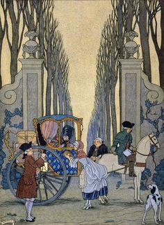 George Barbier (1882-1932) - French Art Deco Fashion Illustrator - From les Liaisons Dangereuses