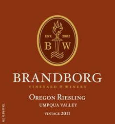 Brandborg 2011 Umpqua Valley Riesling  Aromas of green apples and bosc pears with subtler shadings of candied orange and orange blossoms.  The mouth feel is fairly full bodied with a lingering finish, an intriguing play between the sweetness and acidity leave a lasting impression that calls out for more! 808 cases bottled July 2012  10.6%ABV  2.3% residual sugar – dry/med
