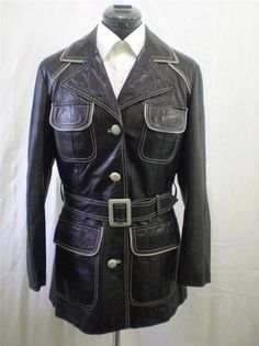 Vintage 70s Leather Trench Coat The Tannery Black Vtg Size 13/14 modern Medium