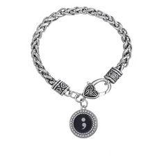 Semicolon Charm Silver Braided Bracelet