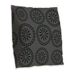 Vintage Style Black Grey Floral Pattern Burlap Pillow.