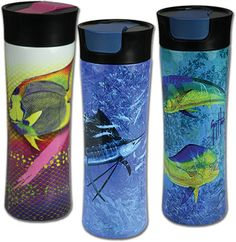 Stainless Steel Vacuum Insulated Travel Mugs sporting vibrant and colorful Guy Harvey art? Yes Please! Shipping in May 2017.