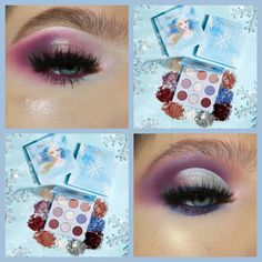Which look using the colourpopcosmetics Frozen 2 Elsa palette do u like more The top one or the bottom one Anna Makeup, Kids Makeup, Makeup Geek, Makeup Ideas, Elsa Makeup Tutorial, Makeup Looks Tutorial, Frozen Makeup, Cute Makeup Looks, Colourpop Eyeshadow