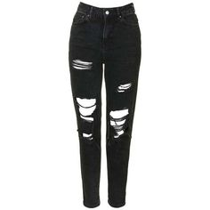 TopShop Moto Washed Black Super Rip Mom Jeans (310 PLN) ❤ liked on Polyvore featuring jeans, pants, bottoms, distressed skinny jeans, high-waisted jeans, high waisted jeans, high waisted ripped jeans and destroyed skinny jeans