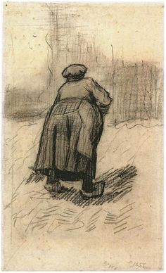 Vincent van Gogh Drawing, Black chalk on laid paper Nuenen: May - June, 1885 Van Gogh Museum Amsterdam, The Netherlands, Europe F: 1257v, JH: 830 Image Only - Van Gogh: Peasant Woman Lifting Potatoes