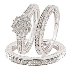 1 Carat Diamond Trio Wedding Ring Set 14k White Gold with 59 round cut conflict free diamonds that dazzle in the light. Set includes Engagement Ring & matching His and Hers Wedding Bands. Priced at $1060.99, 65% off what other high end retailers will charge customers! #wedding #rings #authentic #diamonds