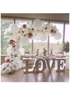 Wedding Balloon Decorations, Engagement Party Decorations, Wedding Balloons, Bridal Shower Decorations, Birthday Party Decorations, Elegant Party Decorations, Bridal Shower Desserts, Party Decoration Ideas, Engagement Party Desserts