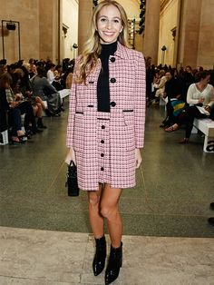 Harley Viera-Newton wearing a pink checked coat and matching mini skirt from Topshop.