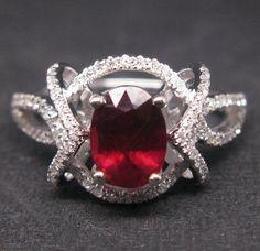 Solid 14K White Gold Genuine Natural VS Diamond Blood Ruby Engagement Ring on eBay!
