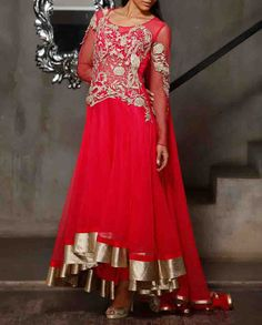 Hot Pink Anarkali Suit with Floral Metallic Applique.Available At www.ladyselection.com