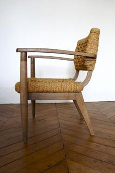 1930's wood + canvas chair.